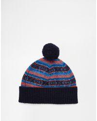 Original Penguin - Blue Fairisle Wool Bobble Hat for Men - Lyst