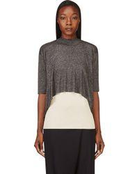 3.1 Phillip Lim - Gray Black Layered Metallic Sweater - Lyst