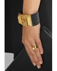 Saint Laurent - Black Clous Punk Gold-Plated And Leather Bracelet - Lyst