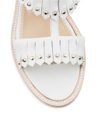 Aperlai   White Loula Leather Studded Fringe Sandals   Lyst