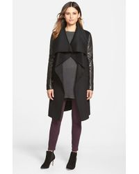 Mackage - Black Wool Blend Coat With Leather Sleeves - Lyst