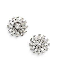 DANNIJO | Metallic 'charlotte' Stud Earrings - Clear Crystal/ Silver | Lyst