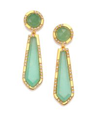 Mija | Light Green Jade & White Sapphire Oblong Drop Earrings | Lyst
