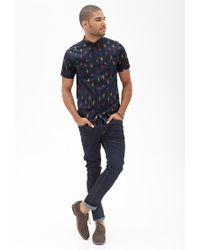 Forever 21 - Blue Ikat Print Shirt for Men - Lyst
