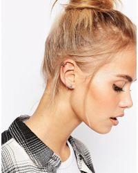 Pieces - Metallic Stud Earring Cuff Set - Lyst