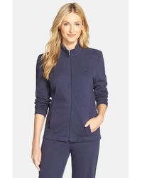 Lauren by Ralph Lauren - Blue Zip Front Lounge Jacket - Lyst