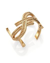 Saint Laurent | Metallic Monogramme Chain Cuff | Lyst