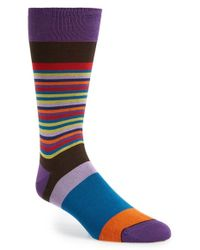 Bugatchi | Brown Stripe Cotton Blend Socks for Men | Lyst