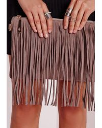 Missguided - Natural Fringed Clutch Bag Nude - Lyst