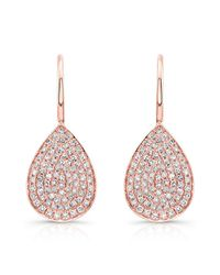 Anne Sisteron | Pink 14kt Rose Gold Diamond Small Pear Shaped Earrings | Lyst