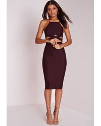 Missguided | Cross Over Waist Midi Dress Dark Purple | Lyst
