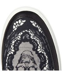 Alexander McQueen   Black Skullprint Canvas and Leather Slipon Sneakers for Men   Lyst