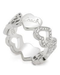 COACH - Metallic Miranda Heart Band Ring - Lyst