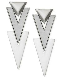 Guess - Metallic Silver-tone Arrow Drop Earrings - Lyst