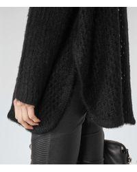 Reiss - Black Fanella Open-knit Roll-neck Jumper - Lyst