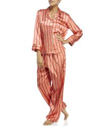 Jones New York | Pink Two-Piece Stripe Satin Pajama Set | Lyst