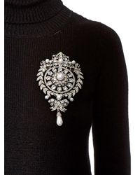Givenchy - White Crystal-Embellished Brooch - Lyst