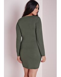 Missguided - Green Plus Size Long Sleeve Jersey Dress Khaki - Lyst