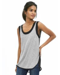 Banana Republic | Gray Mixed-media Cutaway Tank | Lyst