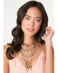 Bebe | Metallic Circle Link Bib Necklace | Lyst