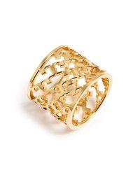 Tory Burch - Metallic Cutout Logo Ring - Shiny Gold - Lyst