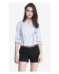 Express | Blue Contrast Piping Convertible Sleeve Essential Shirt | Lyst