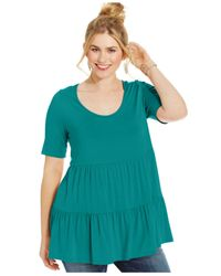 Soprano - Blue Plus Size Short-Sleeve Tiered Top - Lyst