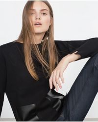 Zara | Black Top With Faux Leather Pockets | Lyst