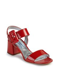 94810b714749 Lyst - Prada Patent Leather Mid-heel Sandals in Red