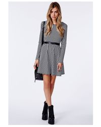Missguided - Black Bechtolda Dogtooth Print Skater Dress - Lyst
