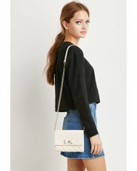 Forever 21 | Natural Faux Leather Bow Crossbody | Lyst