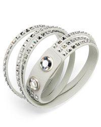 Swarovski | White Suede Crystal Wrap Bracelet | Lyst