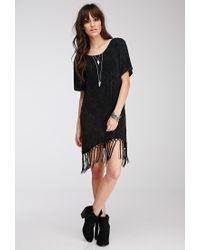 Forever 21 - Black Fringed Cutout T-shirt Dress - Lyst