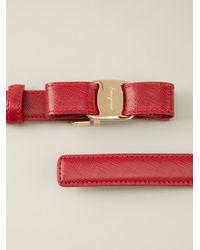 Ferragamo - Red Bow Detail Belt - Lyst