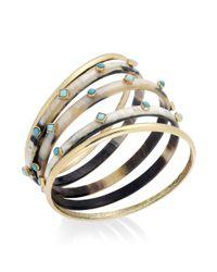 Lauren by Ralph Lauren | Metallic Goldtone Horn and Turquoise Cabochon Bangle Bracelet Set | Lyst