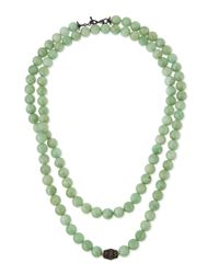 Armenta | Old World Midnight Green Moonstone Bead Necklace With Diamonds | Lyst