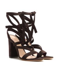 Gianvito Rossi - Brown Janis Suede Sandals - Lyst