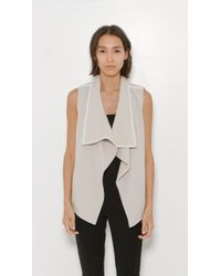 Vince | White Leather Trim Drape Neck Vest | Lyst