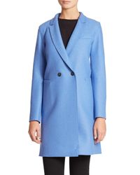 Harris Wharf London | Blue Wool Double-breasted Coat | Lyst