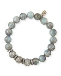 Sheryl Lowe | Metallic 10mm Labradorite & Pave Diamond Bracelet | Lyst