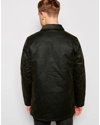 Brixtol - Green Waxed Jacket With Cord Collar for Men - Lyst