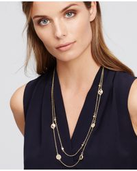 Ann Taylor - Metallic Pave Disc Necklace - Lyst