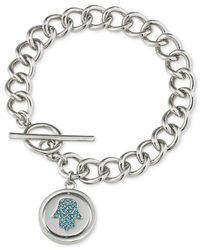 Carolee | Metallic Silver-Tone Hamsa Hand Toggle Charm Bracelet | Lyst