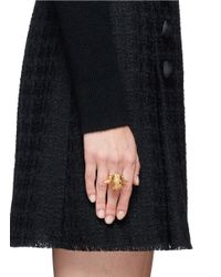 Alexander McQueen | Metallic Punk Rose Skull Ring | Lyst