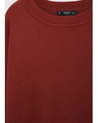 Mango - Red Essential Cotton-blend Sweater - Lyst
