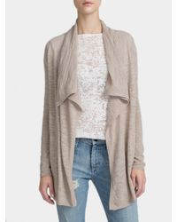 White + Warren | Brown Cotton Slub Drape Front Cardigan | Lyst