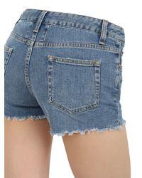 Saint Laurent - Blue Destroyed Cotton Denim Shorts - Lyst