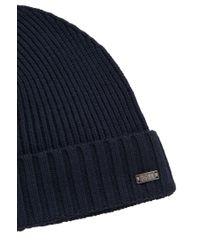 BOSS - Blue 'fati' | Virgin Wool Knit Beanie for Men - Lyst