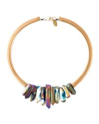 Katerina Psoma | Metallic Multi Stone Stiff Necklace | Lyst