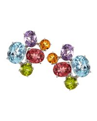 Asprey - Multicolor Gem Cluster Stud Earrings - Lyst